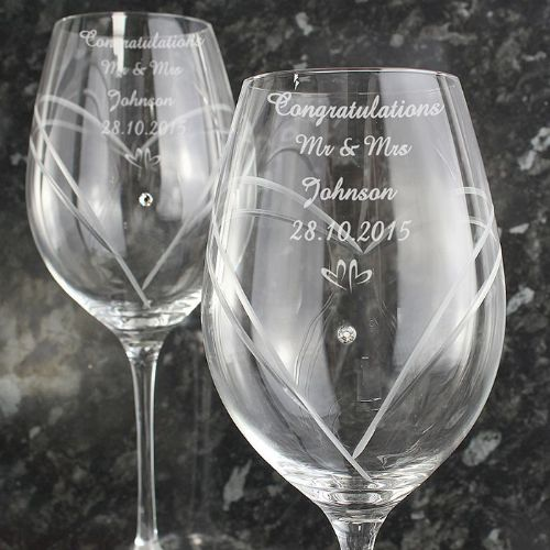 Personalised Hand Cut Diamante Wine Glasses with Swarovski Elements